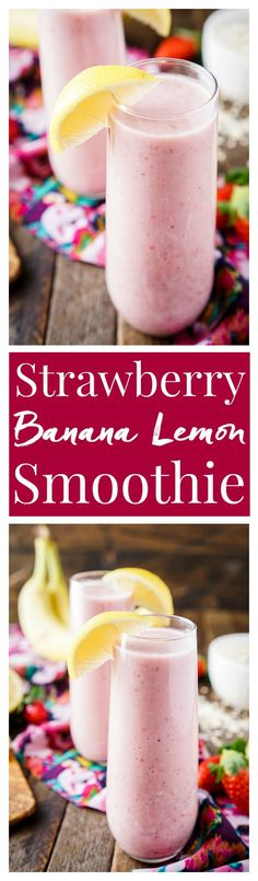 This Strawberry Banana Lemon Smoothie is a bright and delicious way to start the day! A balanced blend of fresh fruit, yogurt, nut milk, flax, and oatmeal!