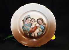 Austrian Portrait Plate ~ Holy Family Painting ~ Mother Infant & Child ~ Brown Porcelain Wall / Cabinet Plate ~ Incredible Art Painting by EclecticJewells on Etsy