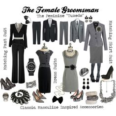In my wedding the female best man wore the same dress as the bridesmaids but in a different color. The bridesmaids wore purple and the groomsmen had blue ties and vests, so her dress was blue. Gray Groomsmen Suits, Groomsmen Outfits, Bridesmaids And Groomsmen, Suits For Women, Clothes For Women, Neck Designs For Suits, Indian Party Wear, Wedding Pinterest, Suit Fashion