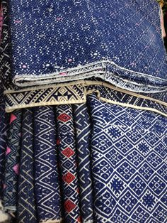 Indigo Vintage embroidered pattern detail | Indigo | layers, fabric, designs, gold, red, trim Vintage fabric found at MIXfurniture.com • @HVLAUREN