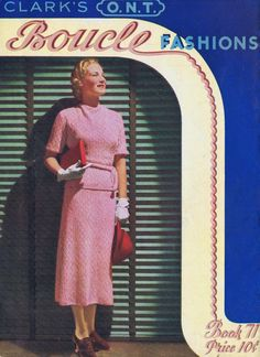Vintage Knitting Crochet Patterns Bloucle Fashions Clark Thread Company Bk 51 Bust 34-36 Knitted Blouses Collars Dresses Suits PDF Download