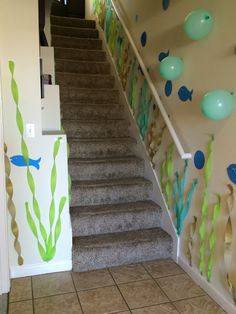 Disney's The Little Mermaid Girl's Birthday Party Decorations / Under the Sea / Ariel / Fish / Jellyfish / Seaweed /Bubbles / Coral / Streamers / Balloons / Teal / Aqua / Turquoise / Blue / Purple / Green / Stairs / Hallway / Child's Party