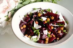 Beet and chickpea dish. I added Kale and coriander.