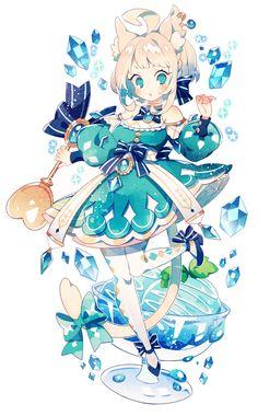 シャーベットブルー Manga Kawaii, Loli Kawaii, Kawaii Art, Kawaii Anime Girl, Anime Chibi, Manga Anime, Cartoon Kunst, Cartoon Art, Anime Girl Cute