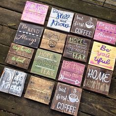 These little minis are perfect for everywhere! . Anywhere from filling in spaces on your picture wall to hanging in the office! They vary in size between 6 and 7 inches. If you need a specific size for a specific space, just message us! These are all made to order, so you can choose your colors! Hardware is not included. Note: Pallet Wood Is Unique. We Handpick & Strip Many Different Pieces Of Wood That We Feel Would Be Best For Each Project.