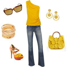 If i could wear yellow this would totally be the most amazing and my most favorite outfit ever! but'll take all the accessories instead...