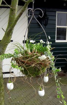 "Over ideas for ""Easter wreaths - Ostern Easter Garland, Easter Tree, Easter Wreaths, The Colour Of Spring, Deco Floral, Decorated Jars, Succulent Pots, Hanging Baskets, Easter Crafts"