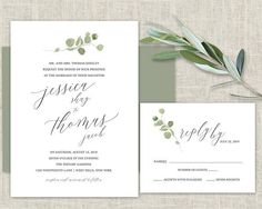 Greenery Wedding Invitation Template Eucalyptus Watercolor