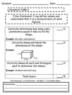 Performance Tasks for the 5th Grade Measurement and Data Common Core Standards with Rubrics for easy scoring!