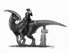 Howdy ma'am. #oldwest #parasaurolophus #dinosaurs #dinosaur #drawing #draw…