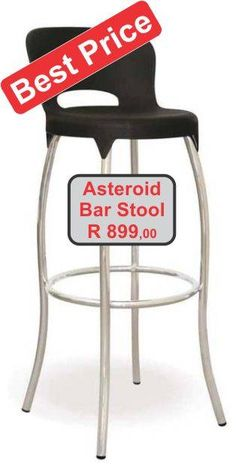 Black plastic seat Asteroid bar stool with chrome legs Bar Stools For Sale, Beach House, Chrome, Plastic, Legs, Black, Home Decor, Beach Houses, Black People