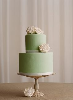 Simple Green Two Tier Cake.