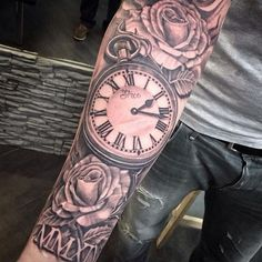 Hip tattoos for men - 18 cool arm tattoo trends from Pintrest - . - Hip tattoos for men – 18 cool arm tattoo trends from Pintrest – - Cool Arm Tattoos, Arm Tattoos For Guys, Forearm Tattoo Men, Trendy Tattoos, Sleeve Tattoos For Men, Badass Tattoos, Time Clock Tattoo, Clock Tattoo Sleeve, Clock Tattoos