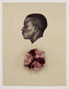 whitfield lovell - kin VII scent of magnolia, drawing conte crayon on paper with attached wreath