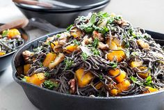 Gluten Free Black Bean Spaghetti with Roasted Butternut Squash