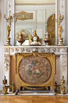 ornate French fireplace and mantel