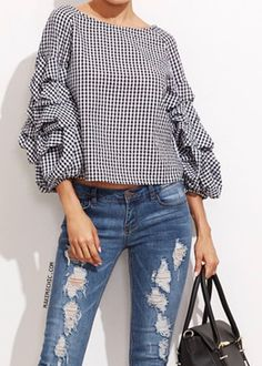 b2e6bbd82e74f Online shopping for Black Gingham Billow Sleeve Top from a great selection  of women's fashion clothing & more at MakeMeChic.