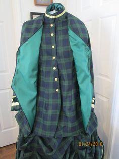1878 Victorian Historical Scotch Plaid Dress