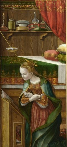 "1486 - ""The Annunciation, with Saint Emidius"" (detail) by Carlo Crivelli (Italian, Venezia, 1435 - Ascole Piceno, 1495)"