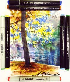#ArtRi4ik Осень же! Обычная бумага для копирования придаёт маркерам новые эффекты))))))! #sketch #sketching #sketchmarkers #sketchmarker #sketchmarkersclub #питернарисунке #питернарисунке2017 @piter_na_risunke  #Речкалов #sketch #sketching #markers #topcreator #скетч #арт #sketchzone #art #artmarkers #molotow #edding #stabilo #sakura