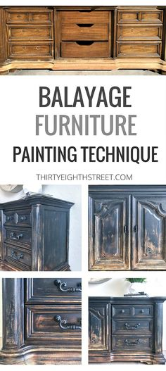 Balayage Furniture Painting Technique. Learn How To Create A Rustic Burnt Ombre Finish To Your Furniture. Furniture Painting Technique. Unique Furniture Design. Painted Furniture. Ombre Furniture.