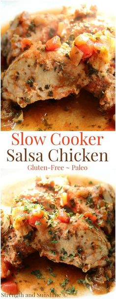 Slow Cooker Salsa Chicken (Gluten-Free, Paleo) | Strength and Sunshine @RebeccaGF666 The most delicious, moist, and easy slow cooker chicken yet! Slow Cooker Salsa Chicken requires just a few ingredients: your favorite salsa, some spices, and the chicken! The perfect healthy, gluten-free, paleo weeknight dinner to please everyone!