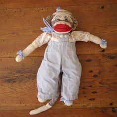"Vintage 70s Handmade Sock Monkey Doll w Overalls Shirt Hat 16"" | eBay"