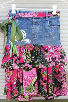 upstyled, recycled, repurposed, girls size 5, denim skirt, flower, cotton, vintage,  one of a kind, unique,party, summer, girly by mamma5design on Etsy