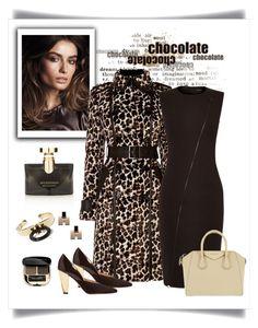 """Karen Millen Leopard Print Coat Look"" by romaboots-1 ❤ liked on Polyvore featuring Bobbi Brown Cosmetics, Karen Millen, Givenchy, Lisa Eisner, Bulgari and Dolce&Gabbana"