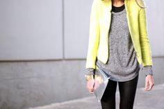Fall Outfit // Yellow Zara tweed blazer, black & grey sweater, black leather leggings, black leather boots, metallic silver clutch #zara #forever21 #hm #dolcevita #rayban