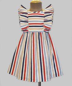Take a look at this Navy & Red Stripe Ruffle Dress - Infant, Toddler & Girls today!