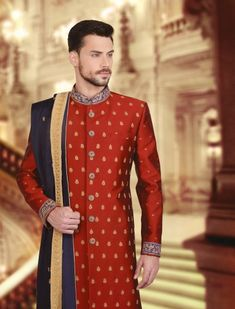 Mens Sherwani and Indowestern Wedding Sherwani, Indian Groom, Groom Outfit, Western Outfits, Festival Wear, Wedding Wear, Mens Suits, Westerns, China