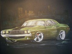 Colored pencil drawing of my dream car.....1970 Dodge Challenger!!!