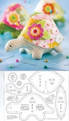 Needle case turtle with patterns.
