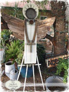 **My Desert Cottage**: Found Object Angels Garden Crafts, Diy Garden Decor, Garden Projects, Diy Decoration, Decorations, Shutter Angel, Metal Garden Art, Garden Junk, Garden Whimsy