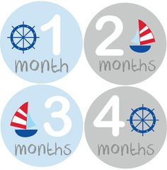 Monthly Baby Boy Stickers Nautica Baby Month Stickers by BabyBellyStickers