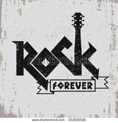 Rock music print, hipster vintage label, graphic design with grunge effect, tee print stamp design. lettering artwork