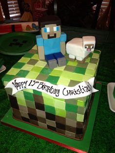 Amycakes made this wonderful Minecraft cake for Christian's Minecraft Birthday Cake, 13 Birthday Cake, Minecraft Cake, Minecraft Party, Boy Birthday, Birthday Ideas, Edible Creations, Cake Creations, Fondant Cakes