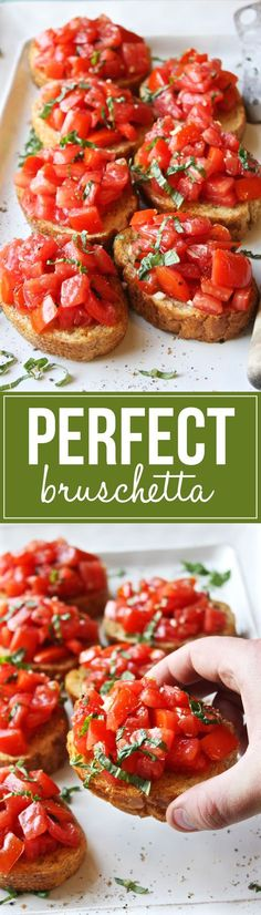 Perfect Bruschetta - Simple, fresh, and seriously amazing. This is the best brus. - Recipes I like.So much food - so little time! - Perfect Bruschetta – Simple, fresh, and seriously amazing. This is the best bruschetta I've eve - Finger Food Appetizers, Appetizer Recipes, Party Appetizers, Italian Appetizers, Italian Bruschetta Recipe, Christmas Appetizers, Bruschetta Bread, Avacado Appetizers, Prociutto Appetizers