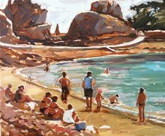 """Daily Paintworks - """"Beach study"""" by Haidee-Jo Summers"""
