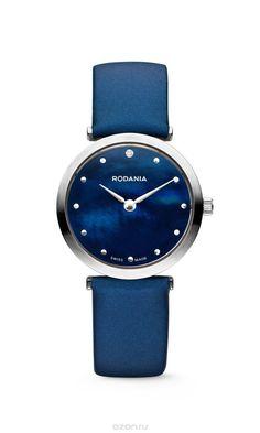 Наручные часы женские Rodania, цвет: серый металлик, синий. 2505729