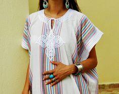 Recourir Caftan Kaftan - blanc-pour Ramadan, Aïd porter, abayas, maillots de bain, plage la couverture de l