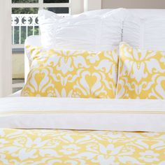 Great site for designer bedding | The Montgomery Yellow Duvet Cover | Crane and Canopy