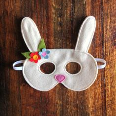 Beautiful, handmade soft felt Bunny mask with flower detail. Available in white or grey. If you have a request for particular flower colours Easter Crafts, Felt Crafts, Fabric Crafts, Felt Bunny, Easter Bunny, Bunny Rabbit, Bunny Mask, Bunny Costume, Crafts Beautiful