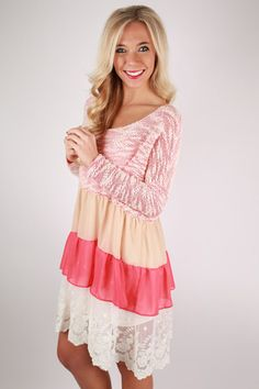 Move & Shake Ruffle Dress in Coral | Impressions Online Women's Clothing Boutique