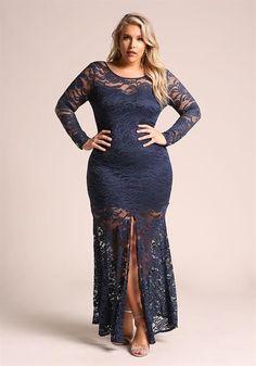 $52.95---3X---NAVY---Plus Lace Slit Maxi Mermaid Gown