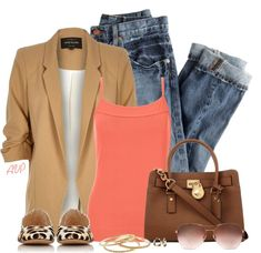 Coral tank top casual spring outfit polyvore