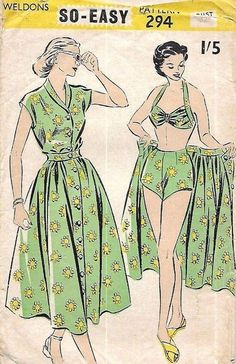 Vintage Sewing Pattern: Four Piece Bikini, Shorts, Beach Outfit,Pin Up. Bust 32 - Buy 5 patterns and get sixth pattern of your choice FREE (FREE being the lowest price). 1950s Summer Fashion, 1940s Fashion, Fashion Sewing, Vintage Fashion, French Fashion, London Fashion, Retro Mode, Vintage Mode, Pin Up Vintage