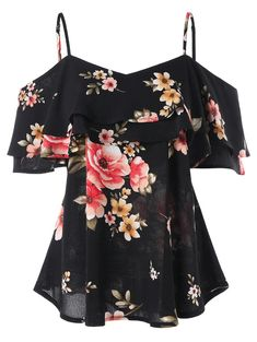 Summer 2019 Women Black Floral Printing Off Shoulder Shirt Sleeveless Vest Tank Tops Blouse Tank Top Women Haut Fem Navy XXL Floral Tops, Floral Blouse, Floral Dresses, Off Shoulder Shirt, Cold Shoulder, Shoulder Sling, Shoulder Tops, Shirt Bluse, Polo Shirt Women