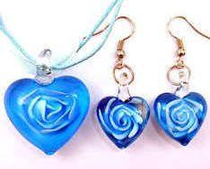 Murano Lampwork Glass Lt. Purple Heart Necklace Earring